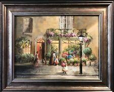 DEBORAH JONES (1921-2012) SIGNED OIL - ROSEMARYS FLOWER SHOP - BUSY SHOP WINDOW