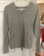 NIKE Athleisure Hooded Top~Size Medium~Cotton Stretch~Gray~Pullover~V-Neck