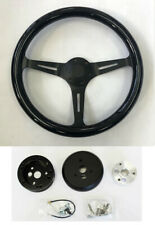 "70-77 Mustang Maverick Torino 15"" Black Wood Steering Wheel 15"" on Black Spokes"