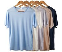 Mens 100% Silk Knitted T-Shirts Short Sleeve Shirts  Personalized Tee and Solid