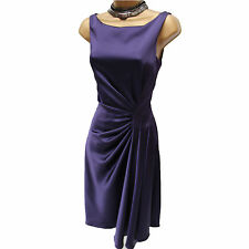 Karen Millen Purple Satin Draped Fluid Fold Evening Party Cocktail Dress 12 UK