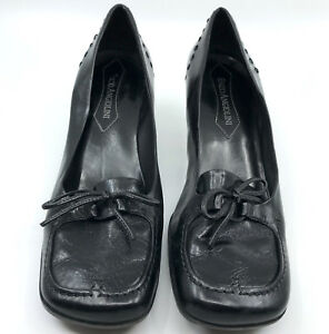 Enzo Angiolini Ladies Black Leather Heeled Loafers Shoes size 6.5 Gently preown