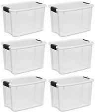 Plastic Storage Containers Closet Garage Utility Organizer Boxes Toy Bins 6 Pack
