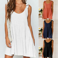 Women Summer Casual Short Mini Flare Dress Sleeveles Beach Retro Linen Sundress