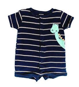 Baby Boys One-Piece Bodysuit Clothes Carters Romper Dinosaur 3/6 mos Blue Stripe