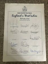 England v West Indies The Oval 1995 - Official Autograph Sheet Signed x 12