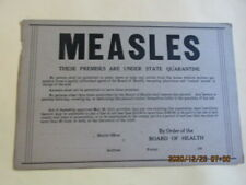 Vintage Medical Rare Measles Quarantine Sign 1940'S Cardboard