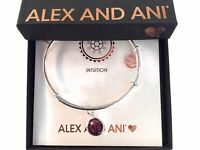 Alex and Ani February Bangle Bracelet Color Code Shiny Silver New Tag Box Card