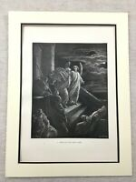 1870 Antique Religious Picture Saint Peter Angel Prison Bible Story Old Print