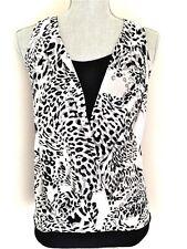 Express NEW Women's Sleeveless Animal Print Black Gray Dressy Shirt Size XS $49