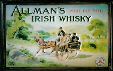 ALLMANS IRISH WHISKY Vintage Metal Pub Sign | 3D Embossed Steel | Home Bar