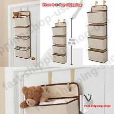 Over The Door Storage Organizer Wall Hanging Holder 4 Pocket Hanging Beige