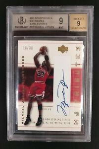 2001-02 Upper Deck Mj Tributi Milestones Michael Jordan Auto BGS 9 Bulls 10/30