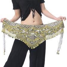 New Belly Dance Costume Hip Scarf Belt Leopard velvet & 480pcs Golden Coins