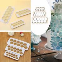 3X Hexagon Fondant Ausstecher Kuchen Biskuitform Dekor Backen Küche Gadget H6V7