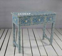 Handmade Bone Inlay Blue Solid Wood 3 Drawer Console Table Study Desk