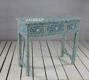 Handmade Bone Inlay Blue Solid Wood 3 Drawer Console Table Study Desk