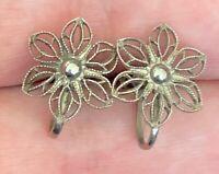 """Vintage Sterling Silver 925 Ornate Flower Screwback Clip Earrings 3/4""""x1/2"""""""