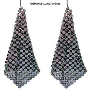 RETRO Women Jewelry Square Net Mesh Peacock Chainmail Sheets Dangling Earrings
