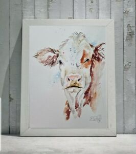 New Elle Smith large original signed watercolour art Hereford Cow painting