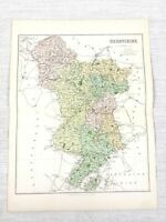 1889 Mappa Antica Di Derbyshire Derby Chesterfield Ilkeston 19th Secolo