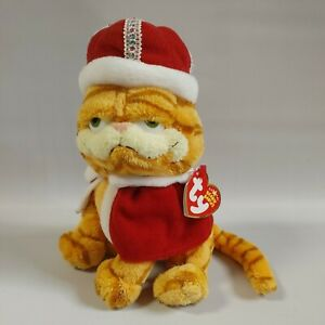 """2006 TY Beanie Babies 7"""" Garfield His Majesty Tail of Two Kitties King Crown"""