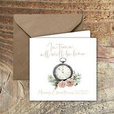 """CHRISTMAS CARDS, LOCKDOWN, QUARANTINE """"In time,all will be fine"""" PACK OF 5"""