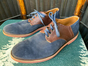11.5 M Navy Suede Walk-Over Saddle Shoes Brown Leather Men's Retro Made In USA