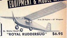 Vintage Berkeley ROYAL RUDDERBUG 1954 Berkeley RC Model Airplane PLAN + Article