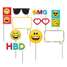 Emoji Photo Booth Props [10pc] Smiley Face Birthday Party Activity Supplies