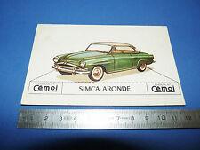CHROMO 1950-1959 CHOCOLAT CEMOI DECOUPAGE AUTOMOBILE AUTO SIMCA ARONDE