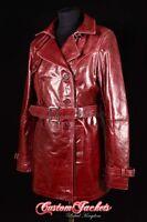 donna Rosso ciliegia Burgundy Reale Pelle d'agnello Cappotto trench giacca MAC