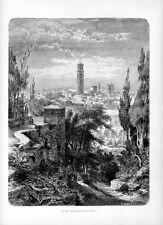 Stampa antica VERONA veduta da Villa Giusti Torre de Lamberti 1877 Old print