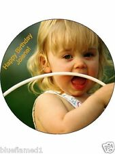 "Your 7.5"" Round Custom Photo Picture Cake Topper on Edible Icing"