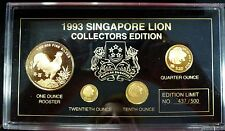 {BJSTAMPS} 1993 Singapore Lion Lunar Rooster 4 coin proof set .40 oz gold LE 500