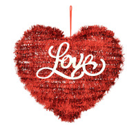 Valentine's Day Love Heart Shaped Red Tinsel Hanging Home Wall Decor