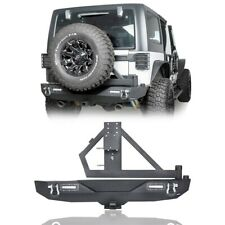 Rock Crawler Rear Bumper w/Tire Carrier for 2007-2018 Jeep Wrangler JK (Black)
