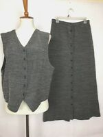 Eileen Fisher Women's Two Piece Vest with Long Button Down Skirt Gray Size 2  BB