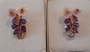PURPLE AMETHYST AND FLORAL CARVED PEARL - ROSE GOLD PLATED STERLING SILVER...