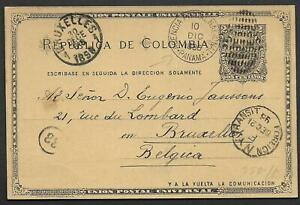 Colombia covers 1896 2c Postal Stationery PANAMA! over NY to Brussels