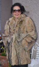 Red Gray FOX Fur Stroller Jacket Coat Size Medium