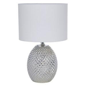 Chantelle Champagne Silver Metallic Diamond Glass Dual Table Lamp & White Shade