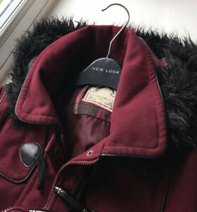 New Look Burgundy Red Duffle Style Jacket/Coat Size 12 Fit 10/12