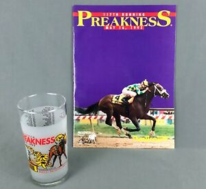 1992 Preakness 117 Official Program and Souvenir Glass Pine Bluff Baltimore MD