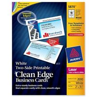 """Avery Clean Edge Business Card - For Laser Print - 3.50"""" X 2"""" - Matte - 2000 /"""