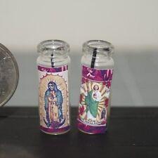 SANTA MUERTE & SAN JUDAS TADEO Lot x2 Miniature Dollhouse Prayer CANDLES Santos