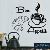 CHEF BON APPÉTIT 50cmX30cm AUTOCOLLANT STICKER MURAL MUR CAFE CUISINE RESTAURANT