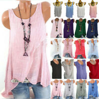 Plus Size Women Sleeveless Tunic Baggy Casual Vest Swing Summer Tank Top Blouse