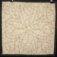"""April Tulip Candle Matt / Placemat Quilted 17"""" x 17"""" set of 2 Cream Pink Floral"""