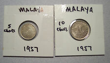 1957 MALAYA AND BRITISH BORNEO 5 CENT AND 10 CENT COINS LOT OF TWO  AA03
